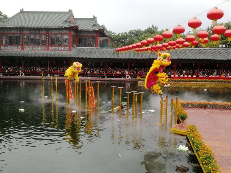 柳州旅游景点醒狮表演