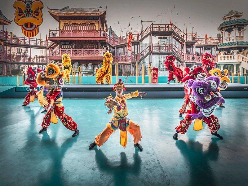 桂林旅游景区舞狮表演
